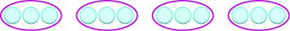 Four red ovals are shown. Inside each oval are three grey circles.