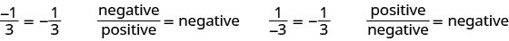 Negative 1 over positive 3 is equal to negative one third. Negative over positive equals negative. Positive 1 over negative 3 is equal to negative one third. Positive over negative equals negative.