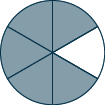 A circle divided into 6 sections, 5 of which are shaded.