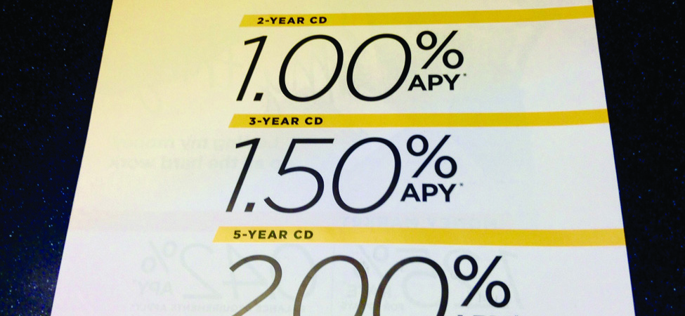 This image shows a sign at a bank indicating annual percentage rates for CDs.