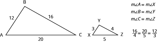 Two triangles are shown. They appear to be the same shape, but the triangle on the right is smaller. The vertices of the triangle on the left are labeled A, B, and C. The side across from A is labeled 16, the side across from B is labeled 20, and the side across from C is labeled 12. The vertices of the triangle on the right are labeled X, Y, and Z. The side across from X is labeled 4, the side across from Y is labeled 5, and the side across from Z is labeled 3. Beside the triangles, it says that the measure of angle A equals the measure of angle X, the measure of angle B equals the measure of angle Y, and the measure of angle C equals the measure of angle Z. Below this is the proportion 16 over 4 equals 20 over 5 equals 12 over 3.