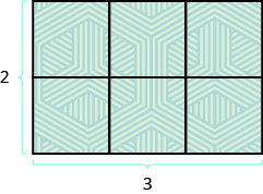 A rectangle is shown. It is made up of 6 squares. The bottom is 2 squares across and marked as 2, the side is 3 squares long and marked as 3.