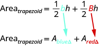 The top line says area of trapezoid equals one-half times blue little b times h plus one-half times red big B times h. Below this is area of trapezoid equals A sub blue triangle plus A sub red triangle.