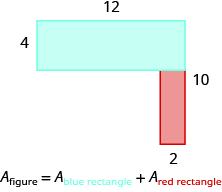 An image of an attached horizontal rectangle and a vertical rectangle is shown. The top is labeled 12, the side of the horizontal rectangle is labeled 4. The side is labeled 10, the width of the vertical rectangle is labeled 2.