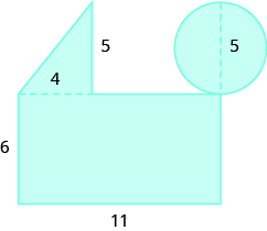 A geometric shape is shown. It is a rectangle with a triangle attached to the top on the left side and a circle attached to the top right corner. The diameter of the circle is labeled 5. The height of the triangle is labeled 5, the base is labeled 4. The height of the rectangle is labeled 6, the base 11.