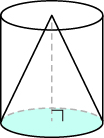 An image of a cone is shown. There is a cylinder drawn around it.