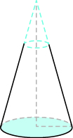 An image of a cone is shown. There is a dark dotted line at the top indicating a smaller cone.