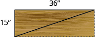 A rectangular shelf is shown, with a diagonal drawn in from the lower left corner to the upper right corner. The side is labeled 15 inches, the top is labeled 36 inches.