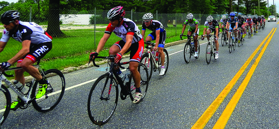 This photo shows a pack of cyclists in a road race.