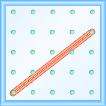 The figure shows a grid of evenly spaced dots. There are 5 rows and 5 columns. There is a rubber band style loop connecting the point in column 1 row 5 and the point in column 5 row 2.