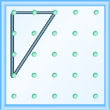 The figure shows a grid of evenly spaced dots. There are 5 rows and 5 columns. There is a rubber band style triangle connecting three of the three points at column 1 row 1, column 1 row 4,and column 3 row 1.