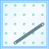 The figure shows a grid of evenly spaced dots. There are 5 rows and 5 columns. There is a rubber band style loop connecting the point in column 2 row 5 and the point in column 5 row 3.