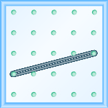 The figure shows a grid of evenly spaced dots. There are 5 rows and 5 columns. There is a rubber band style loop connecting the point in column 1 row 4 and the point in column 5 row 3.