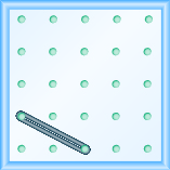 The figure shows a grid of evenly spaced dots. There are 5 rows and 5 columns. There is a rubber band style loop connecting the point in column 1 row 4 and the point in column 3 row 5.