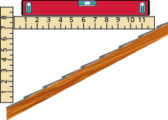 The figure shows a diagonal side-view slice of a pitched roof. A ruler in vertical position is at the bottom of the roof segment and shows unit labels 1 through 8 and extends one further unit. A second ruler starts at the