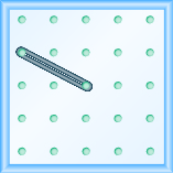 The figure shows a grid of evenly spaced dots. There are 5 rows and 5 columns. There is a rubber band style loop connecting the point in column 1 row 2 and the point in column 3 row 3.