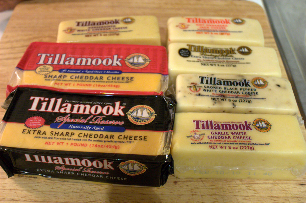Several different kinds of Tillamook cheese in packages of different sizes