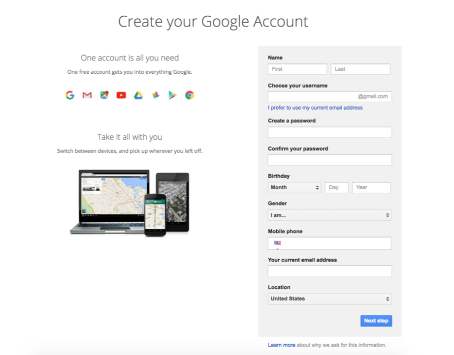 A screenshot of the create your Google account page.