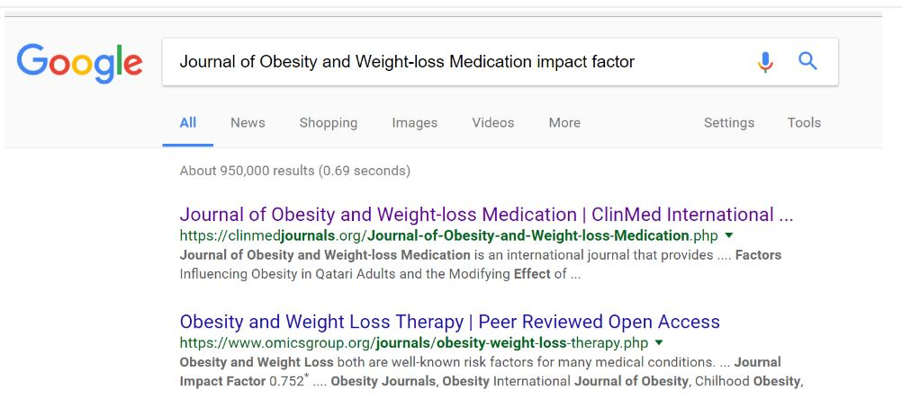 "A screenshot of a google shirt for the search, ""Journal of Obesity and Weightloss Medication impact factor."