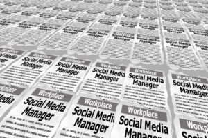 Newspaper want ad-style graphic calling for a social media manager.