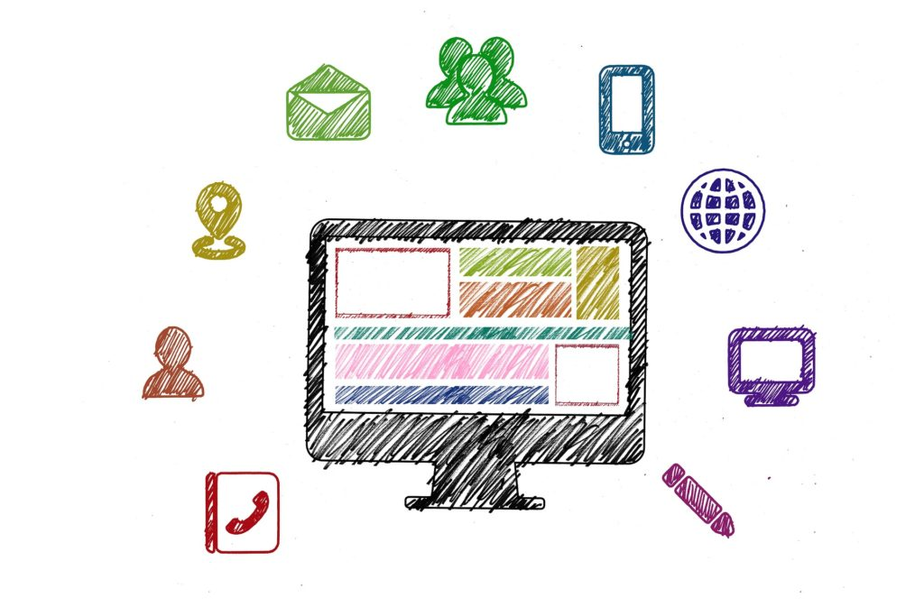 Illustrated image of a computer screen against a white background. The computer screen is circled by icons for contacting someone including: email, phone contacts, Internet, group chat, instant message, cellphone and pencil icons.