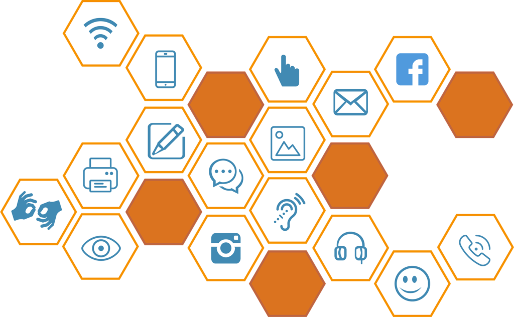Image of blue icons used for communication channels. Icons include: Facebook logo, Instagram logo, and icons for wifi signal, cellphone, phone, printer, instant chat, headphones, hand with pointing finger, hands for sign language, eye, smiley face emoji, email envelope, and note taking icon with pencil on paper.