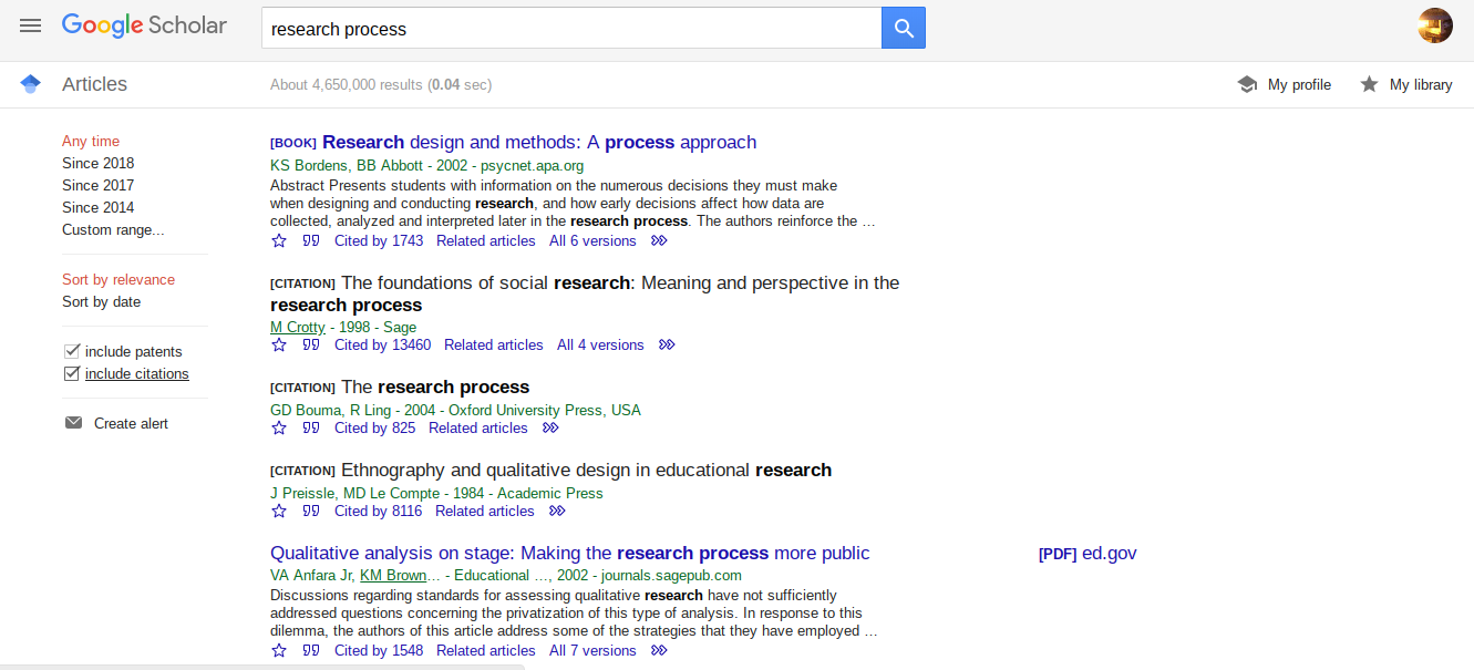 """Screenshot of the search engine Google Scholar. """"Research process"""" is in the search bar, and several scholarly articles appear as results."""