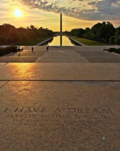 """Image of steps of Lincoln Memorial in Washington D.C. This is where Martin Luther King, Jr gave his famous """"I Have a Dream"""" speech during the the March on Washington for Jobs and Freedom. Text carved into the stone steps reads """"I have a dream Martin Luther King, Jr. the march on Washington for jobs and freedom August 28, 1963""""."""