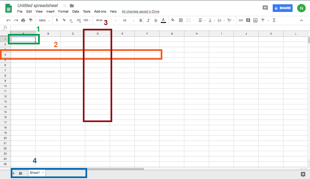 Screenshot of a blank Google Sheets spreadsheet with a cell, column, and row highlighted.