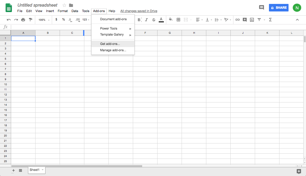 Screenshot of a blank Google Sheets spreadsheet with the Add-ons drop down menu shown.