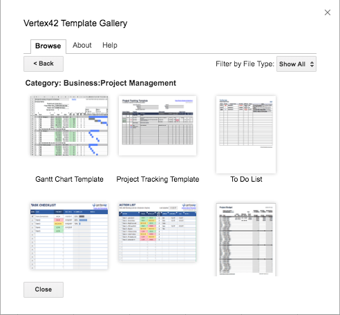 Screenshot of the Vertex42 Template Gallery.
