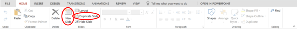 Screenshot of Home Tab in PowerPoint. Red circles indicate icons used to add new slides or duplicate a slide.