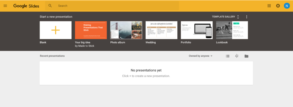 Screenshot of template gallery. A top bar shows recently used templates.