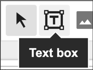 """Screenshot of three icons from Google slides home tab: select, text box, and image icons. A black box points to the text box icon and says """"Text box""""."""