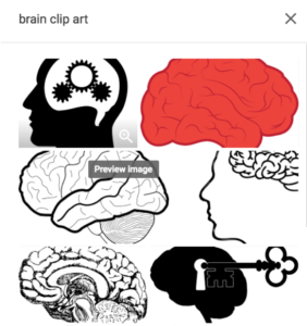 Six images of brain clip art from a Google image search.