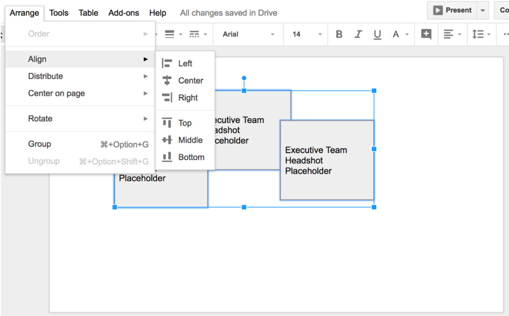 Screenshot of Google slide. The arrange tab is highlighted and a dropdown menu shows different alignment options to choose from.