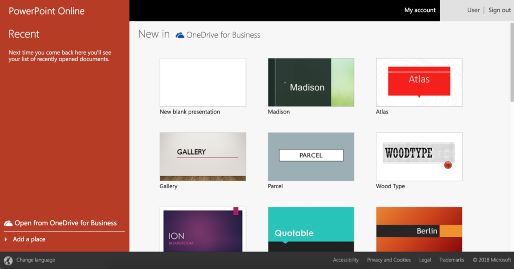 A screenshot of PowerPoint Online's template gallery. A sidebar shows recently used templates, while the main screen shows a 3 wide grid of different templates.