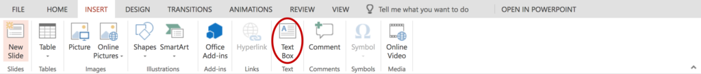 Screenshot of Home Tab in PowerPoint. Red circles indicate icons used to add a new textbox on a slide.