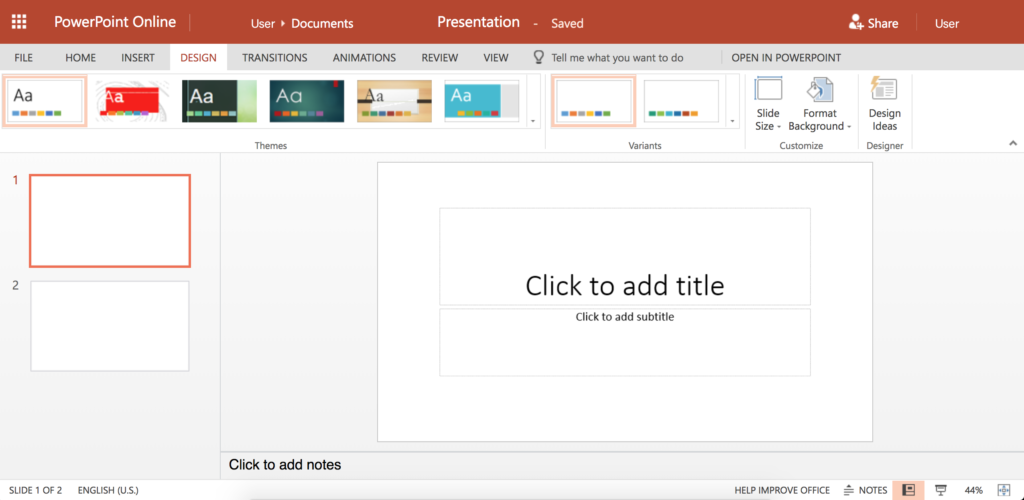 Screenshot of main PowerPoint screen. The top home bar shows different slide design themes. A column on the left showing the slides that have been created. A square in the center shows slide template.