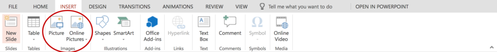 Screenshot of the home tab. A red circle indicates two icons for inserting pictures and clip art.