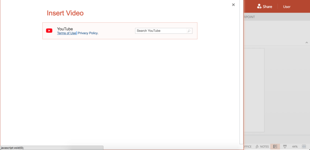 Screenshot showing the option to insert a video from the internet into a slide.