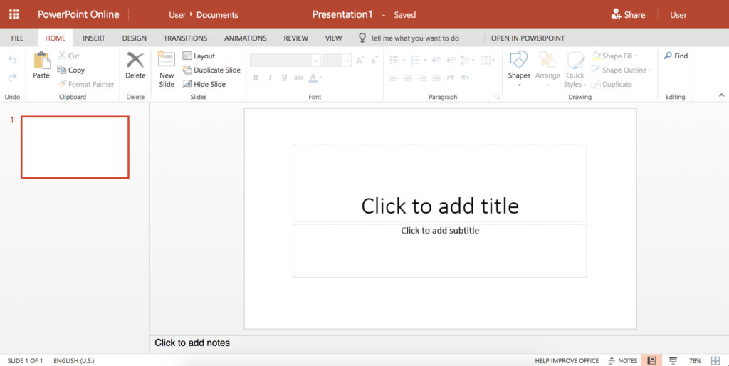 """A screenshot of a template slide in PowerPoint online. The slide has two text boxes. One reads """"Click to add title"""" the other reads """"Click to add subtitle""""."""