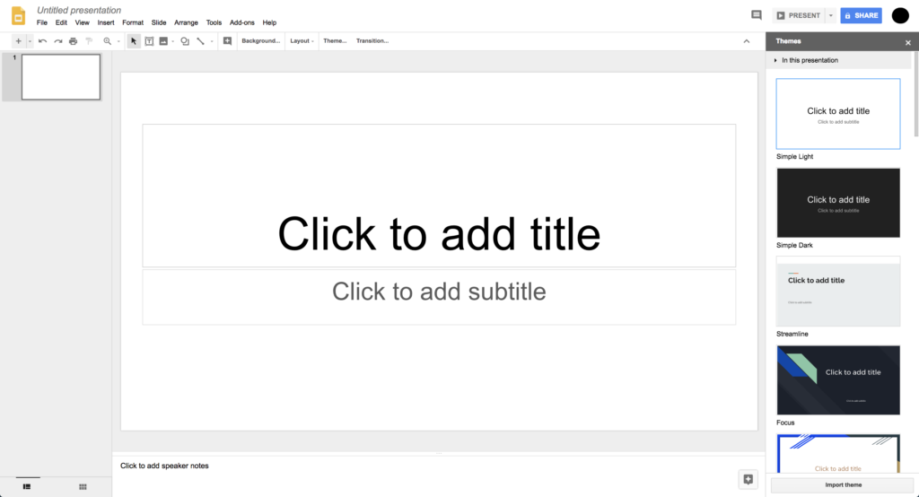 """Screenshot of Google Slides. The slide has two text boxes. One reads """"Click to add title"""" the other reads """"Click to add subtitle"""". On the right there are four examples of slide templates."""