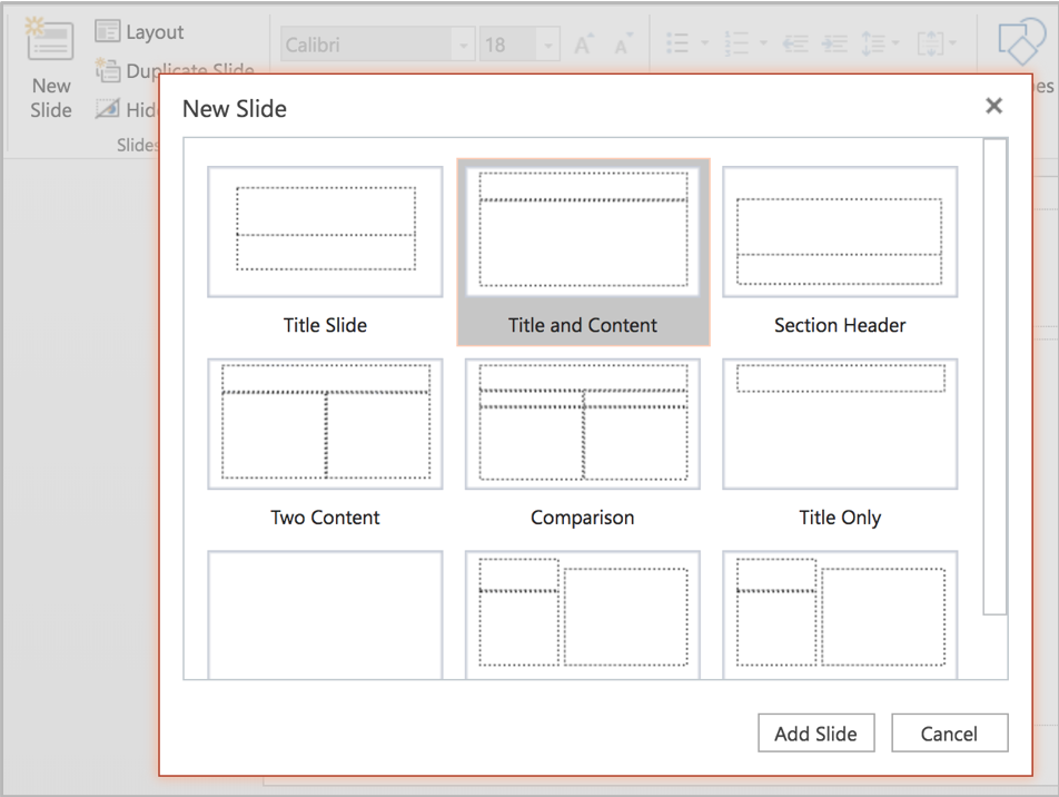 """Screenshot of choosing a new slide layout. The """"title and content"""" option is selected."""