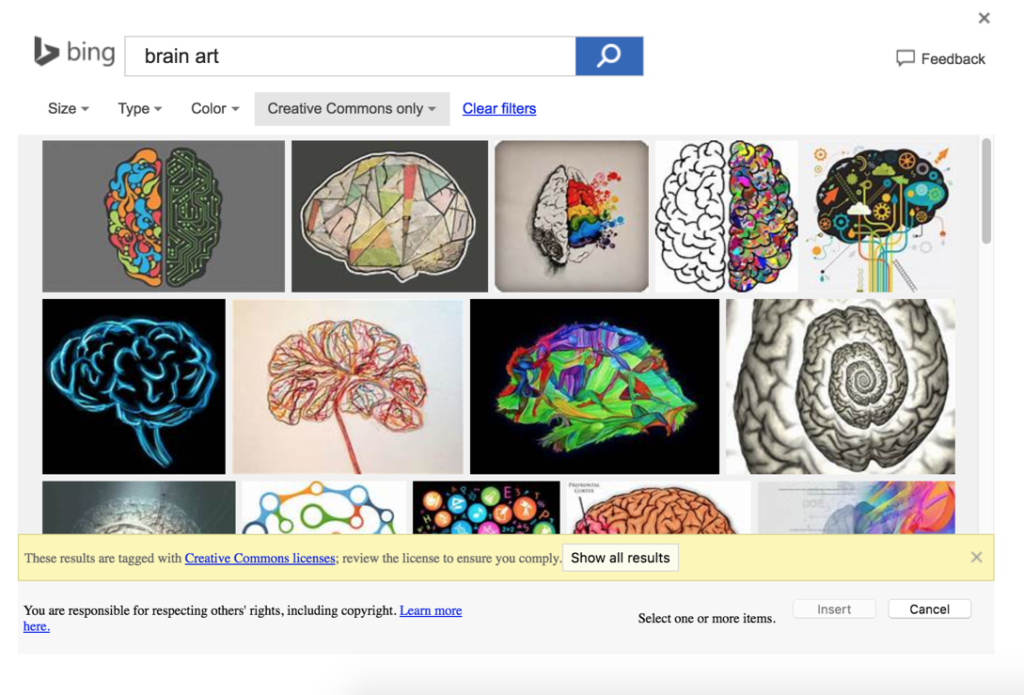 """Screenshot of images found through bing search. """"Brain art"""" is the phrase in the search engine."""