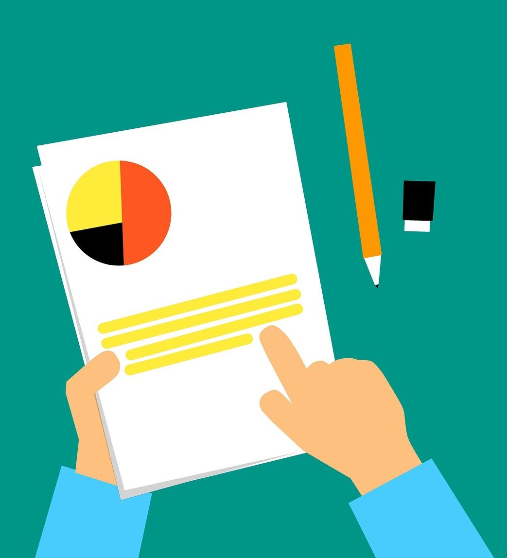 Illustration of a person holding a printed report. The report has lines representing text alongside a pie chart.