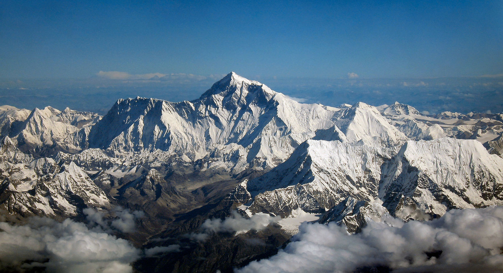 A photograph of Mount Everest; the mountain is covered in snow and imposing.