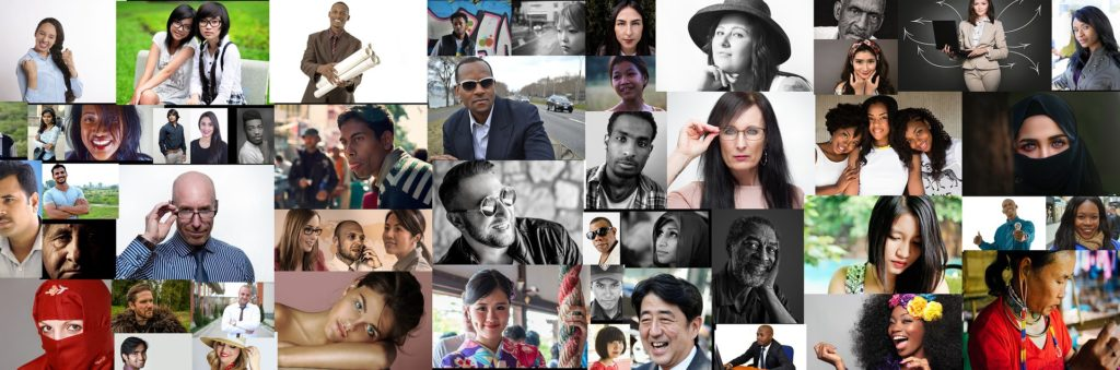 Collage of a diverse array of people from different cultures, religions, ages, and genders. Collage has about forty thumbnail images of different individuals.