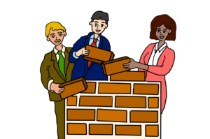 Three people in business attire taking appart a brick wall. Image is drawn in a cartoon style.