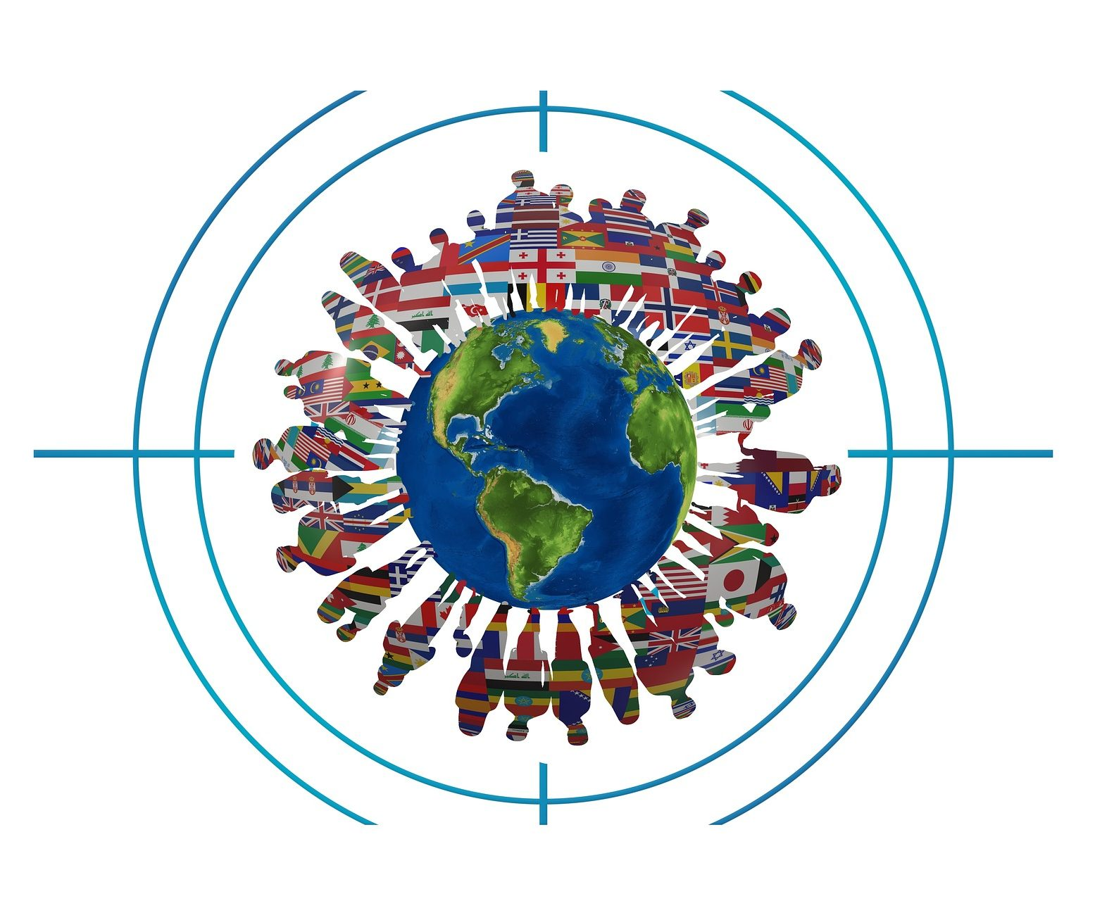 Image of a globe with the silhouettes of people standing on the circumference of the globe. The silhouette of the people has been filled in with the flags from countries in the world.